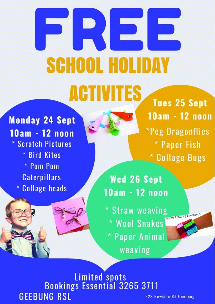 School Holiday Actvities September