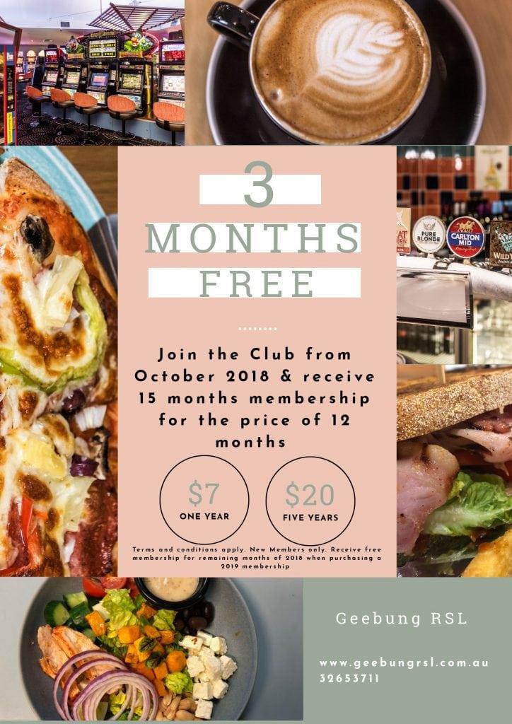 3 Months Free Membership Poster