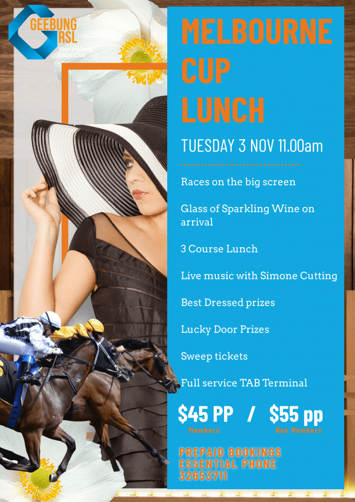 Melbourne Cup Lunch Template Split Design With Lady In Monotone Outfit 1